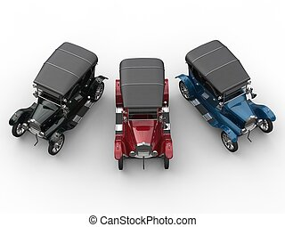 Black, red and blue restored vintage cars - top down view