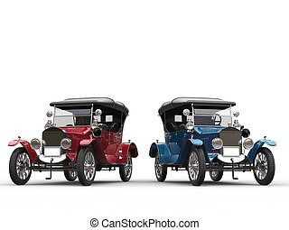 Awesome restored vintage cars in red and blue metallic...