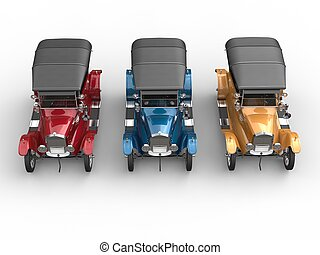 Red, blue and yellow restored vintage cars - top view