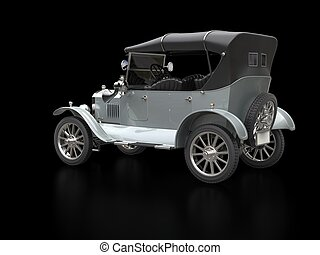 Silver vintage car - restored