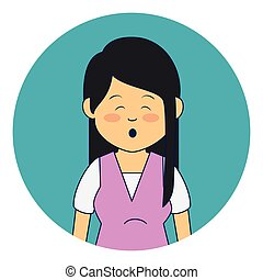 asian cute woman ethnicity character vector illustration...