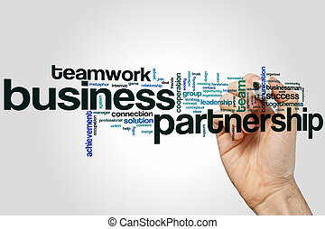 Business partnership word cloud concept on grey background