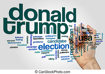 Donald Trump word cloud concept on grey background.