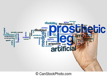 Prosthetic leg word cloud concept on grey background