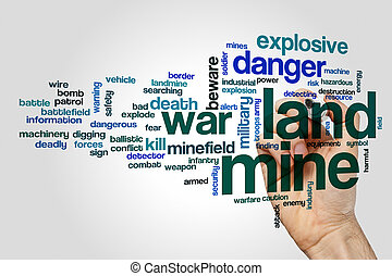 Land mine word cloud concept - Land mine word cloud on grey...