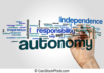 Autonomy word cloud concept on grey background.