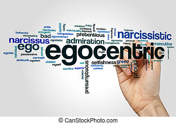 Egocentric word cloud concept on grey background