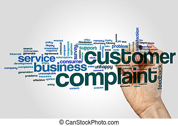 Customer complaint word cloud on grey background.