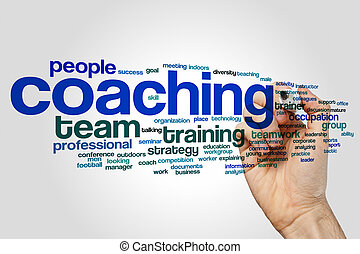 Coaching word cloud concept on grey background