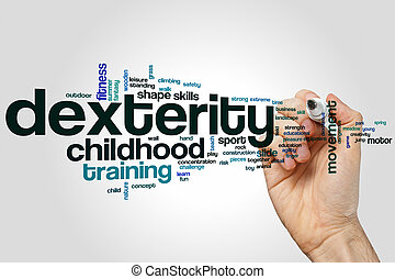 Dexterity word cloud concept on grey background.