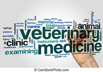 Veterinary medicine word cloud concept on grey background
