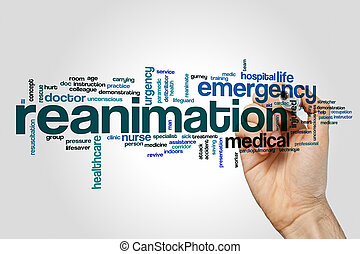 Reanimation word cloud concept on grey background