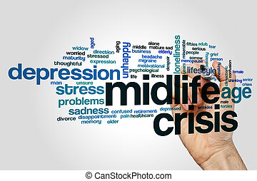 Midlife crisis word cloud concept on grey background