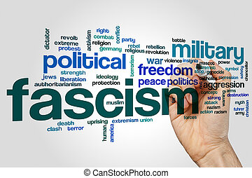 Fascism word cloud concept on grey background.