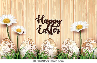 Easter background with realistic eggs and daisy flowers in the grass on wood texture background