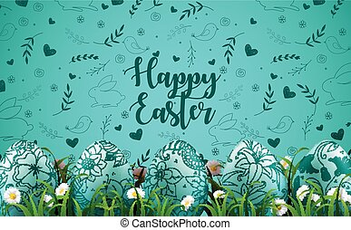 Bright green background with realistic eggs and daisy flowers in the grass
