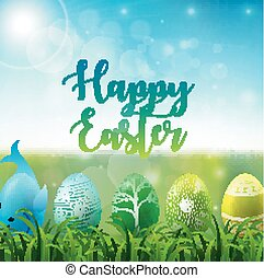 Easter background with colorful easter eggs in the grass on sunny sky background