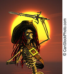 Skeleton Pirate in Tropical Sun - A skeleton pirate is...