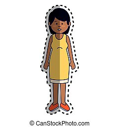 cute woman ethnicity character vector illustration design