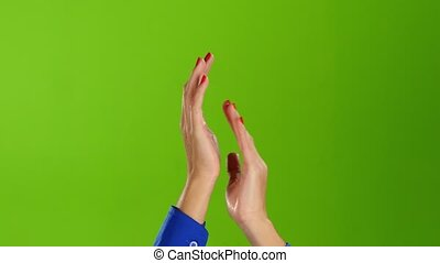 Two female hands clap and applauded on green screen...