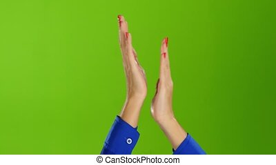 Clap and applauded two female hands on green screen...