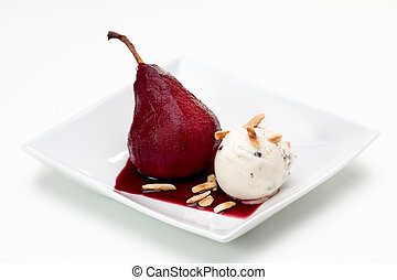 Poached Pear with Ice Cream