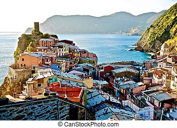Colorful little vilage in Northen Italy. - Vernazza. Cinque...