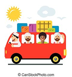 Vecctor Refugees bus. Illegal migration. Flat style colorful...