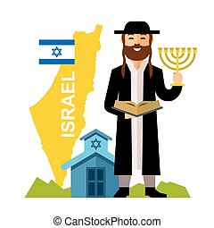Vector Israel Country Concept. Flat style colorful Cartoon...