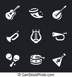 Vector Set of Musical Instruments Icons. - Guitar, horn,...