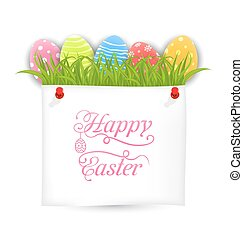 Celebration PostCard with Easter Ornamental Eggs -...
