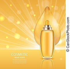 Cosmetic Product with Oil, Abstract Orange Template