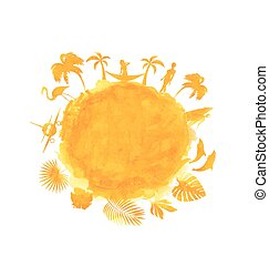 Tropical Summer Party Banner. Orange Watercolor