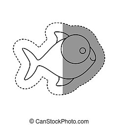 silhouette fish with big eyes icon, vector illustration...