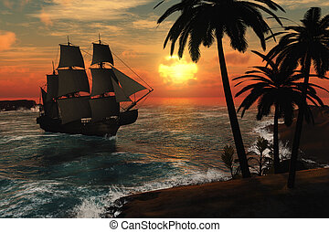 Tall Ship in Tropical Sunset - A tall ship arrives at a...