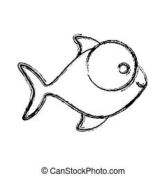 contour fish with big eyes icon, vector illustration design