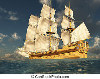 Tall Ship at Sea 2 - 3D render depicting a tall ship at sea...