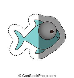 color fish with big eyes icon, vector illustration design