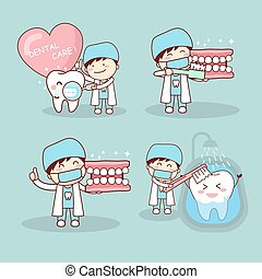 dentist and tooth - cute cartoon dentist and tooth with...