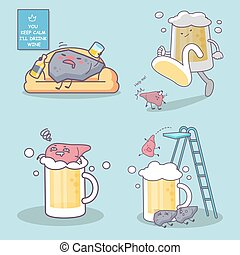 liquor and liver - cute cartoon unhealthy liquor drunk and...