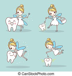 tooth with tooth fairy - cartoon tooth with tooth fairy and...
