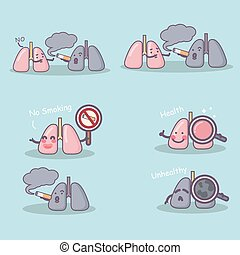 cute cartoon lung and smoking with health problem