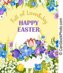 Easter egg paschal flowers vector greeting card - Happy...