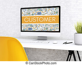 3d Computer with word CUSTOMER.