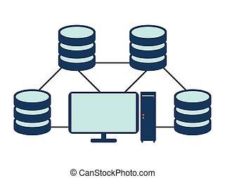 Database network icon. Flat Vector illustration on white background.