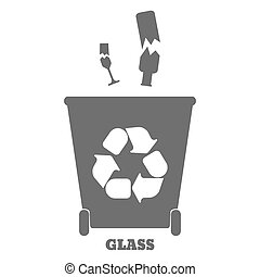 Big colorful containers for recycling waste sorting - glass. Vector illustration.