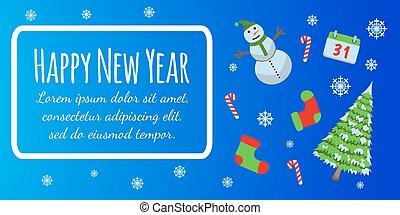 Happy New Year banner and giftcard. Xmas poster with snowman, pine. Merry Christmas Vector Illustration.