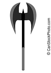 Medieval ax weapon vector. Flat style equipment. Isolated...