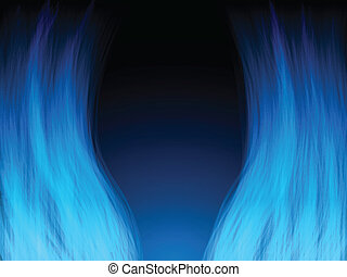 Blue Fire Flames. Color and forms are editable. - Vector -...