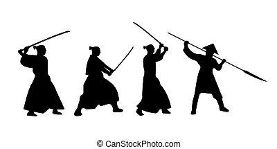 The Set of Samurai Warriors Silhouette with katana sword....